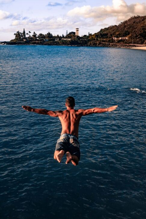 TestoGen Review, a man jumping into the water