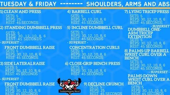 Shoulders, arms and abs workout by Arnold