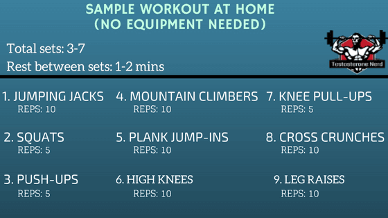 How to exercise at home with no equipment, sample workout