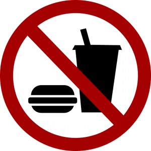 No junk food allowed style of sign