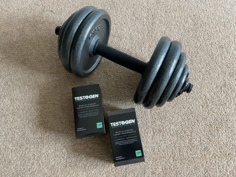 Does HIIT lower testosterone, 2 TestoGen boxes and a dumbbell